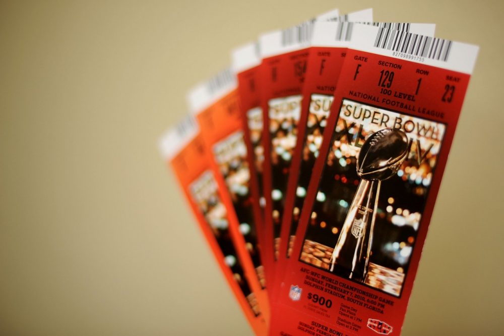 Tickets for Super Bowl XLIV are seen on February 5, 2010 in Miami Gardens, Florida. (Michael Heiman/Getty Images)