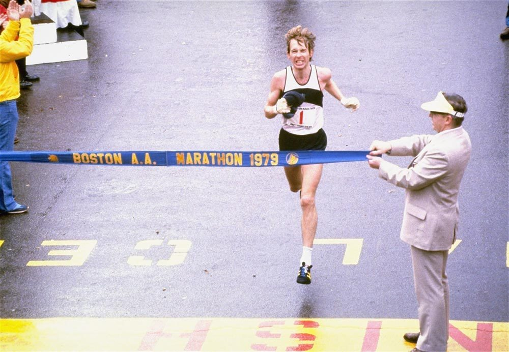 Bill Rodgers crossing the finish line in the 1979 Boston Marathon. (AP)