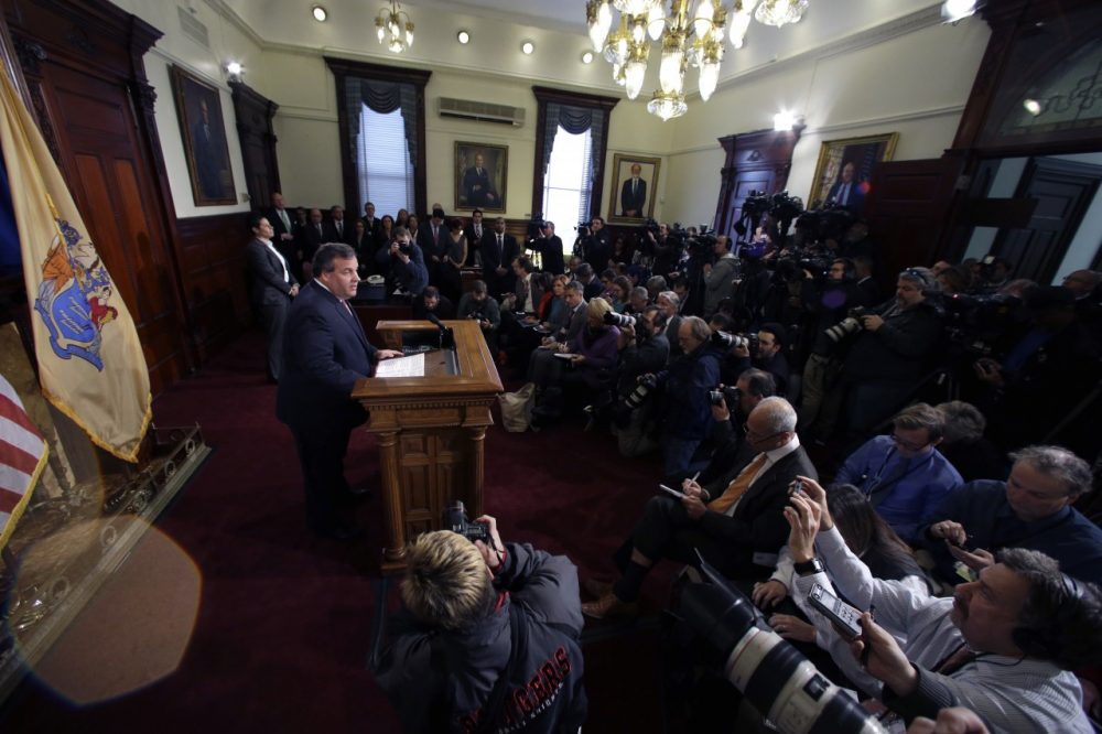 New Jersey Gov. Chris Christie speaks during a news conference Thursday, Jan. 9, 2014, at the Statehouse in Trenton, N.J. Christie has fired a top aide who engineered political payback against a town mayor, saying she lied. (Mel Evans/AP)
