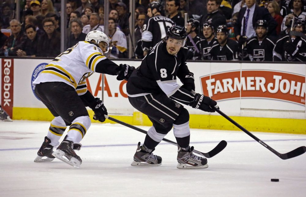 Los Angeles Kings defenseman Drew Doughty (8) and Boston Bruins right winger Jarome Iginia (12) skate in the first period. (AP/Reed Saxon)