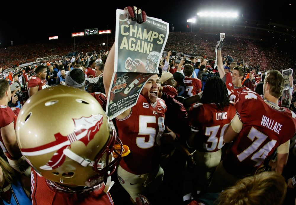 Florida State players celebrate their 2014 BCS title game victory over Auburn on Monday. The College Football Playoff will replace the BCS next season. (Kevin C. Cox/Getty Images)