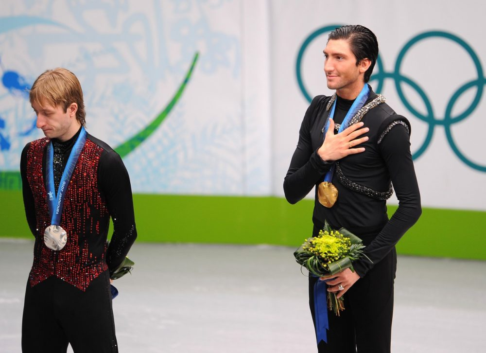 In 2010, American Evan Lysacek edged Russia's Evgeni Plushenko for gold despite not attempting a quadruple jump--something that's unlikely to happen again in 2014. (Vincenzo Pinto/AFP/Getty Images)
