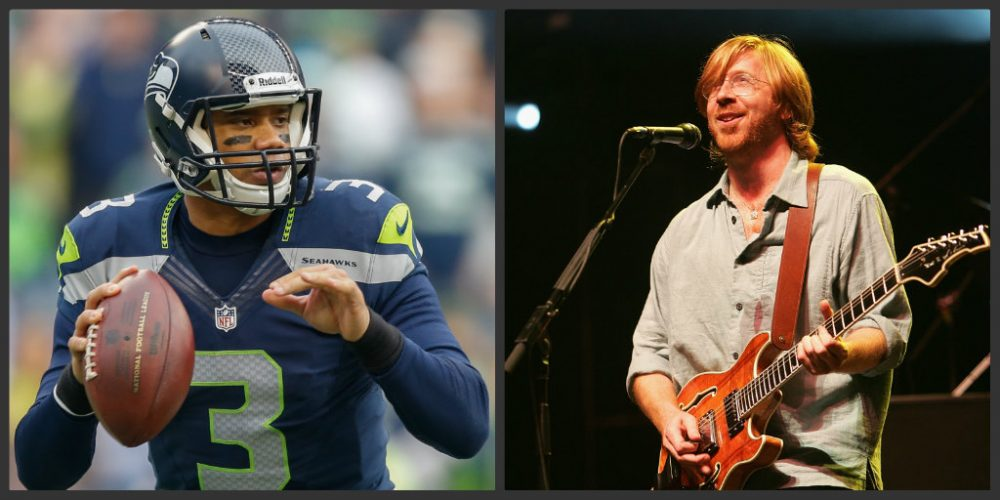Seattle Seahawks quarterback Russell Wilson and Phish lead singer Trey Anastasio have collided thanks to a single word. (Otto Greule Jr./Getty;Scott Gries/Getty)