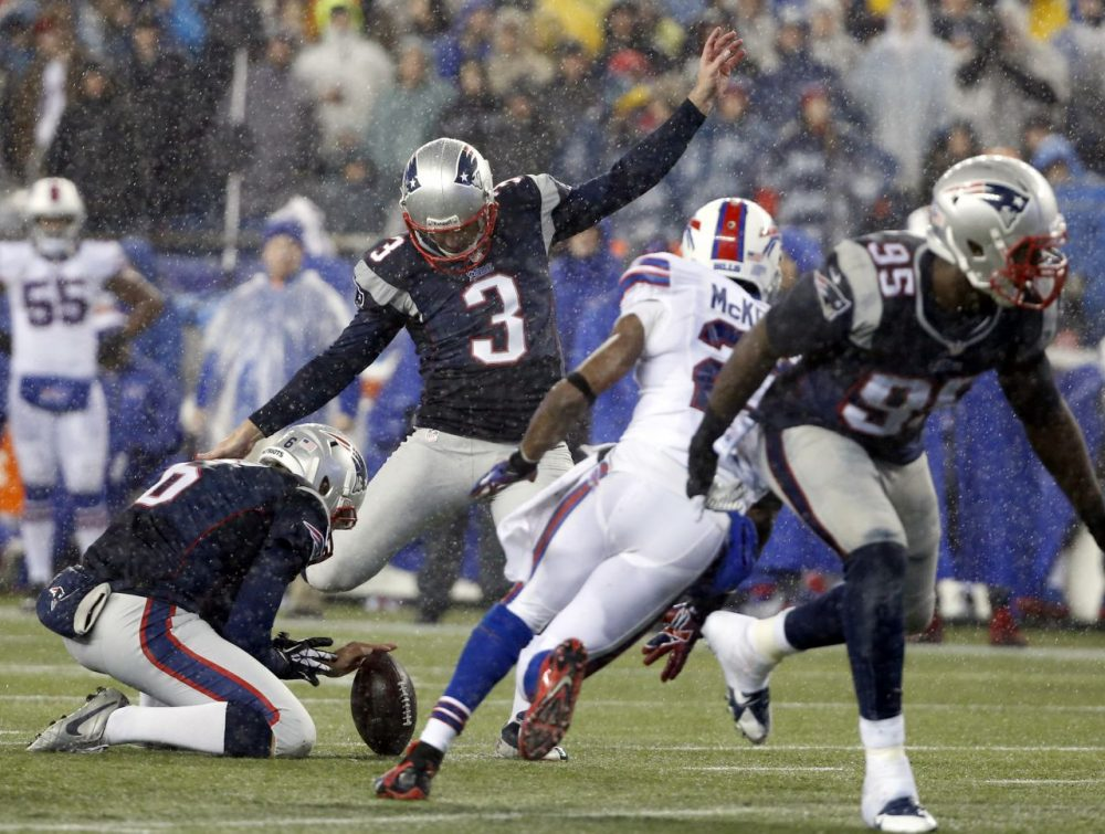 New England Patriots' Stephen Gostkowski kicks a field goal against the Buffalo Bills. (Elise Amendola/AP)