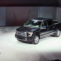 Raj Mair, group VP at Ford Motor Company, introduces the new Ford F-150 pickup truck at the North American International Auto Show (NAIAS) on January 13, 2014 in Detroit, Michigan. (Scott Olson/Getty Images)
