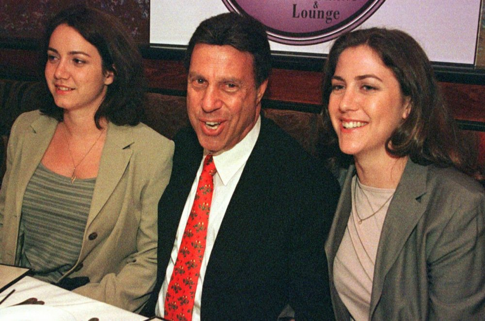 Stephen Fagan, center, smiles as he sits with his daughters, Rachael Martin, left, and Lisa Martin, right, to have dinner at a Boston restaurant, Friday, May 28, 1999. Fagan was arrested for abducting his daughters from their mother's custody 20 years earlier. His daughter stood up for their father, and refused to meet their mother. Their story inspired  James Whitfield Thomson's novel.  (WillIam Plowman/AP)