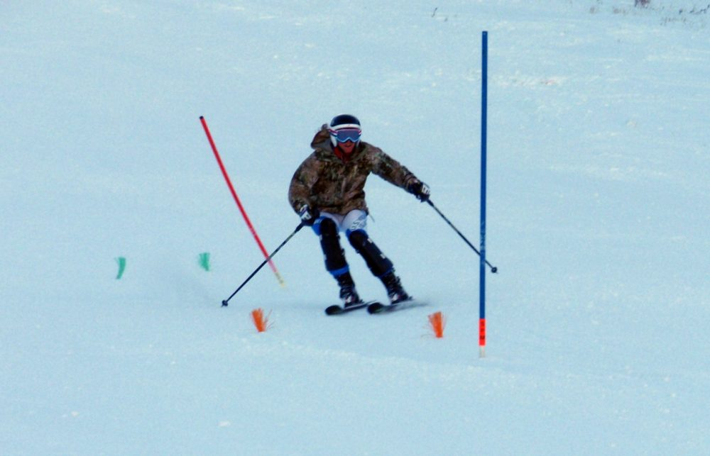Jasmine Campbell practices slalom racing on her home mountain, Sun Valley's Baldy. (Tom Banse/Northwest News Network)