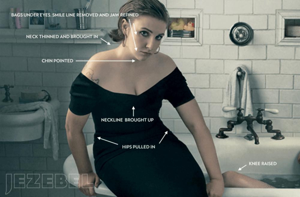 A screenshot of Jezebel's analysis of a Vogue magazine photo of Lena Dunham. (Jezebel)