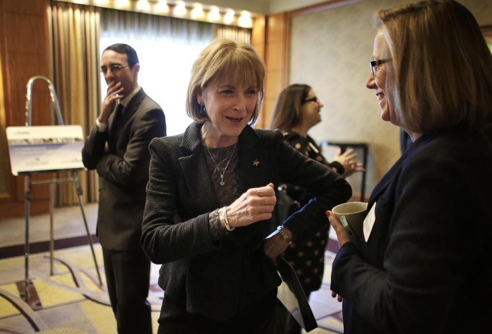 Democratic gubernatorial candidate Martha Coakley at a Greater Boston Chamber of Commerce event in January. (Steven Senne/AP)