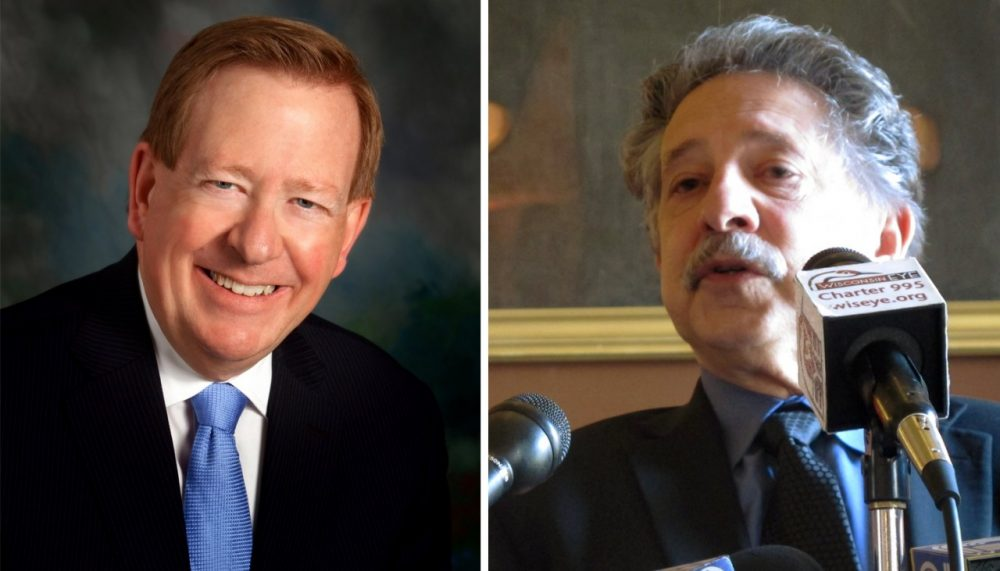 Jim Brainard, Republican mayor of Carmel, Indiana (left) and Paul Soglin, Democratic mayor of Madison, Wisconsin (right) would both like to see more cooperation between parties in Congress. (City of Carmel and AP)