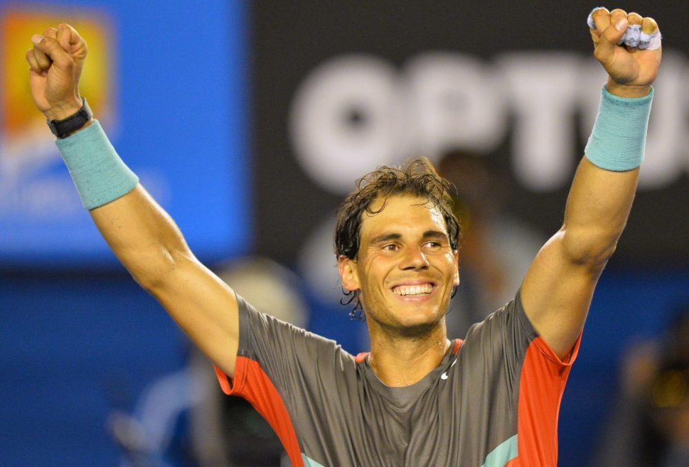 Spain's Rafael Nadal celebrates his victory against Switzerland's Roger Federer during their men's singles semi-final match on day 12 of the 2014 Australian Open tennis tournament in Melbourne on January 24, 2014. (Saeed Khan/AFP/Getty Images)