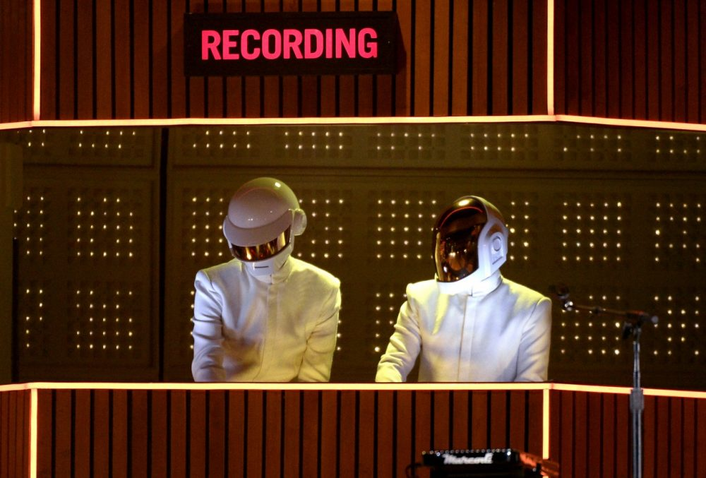 Musicians Thomas Bangalter and Guy-Manuel de Homem-Christo of Daft Punk perform onstage during the 56th GRAMMY Awards at Staples Center on January 26, 2014 in Los Angeles, California. (Kevork Djansezian/Getty Images)