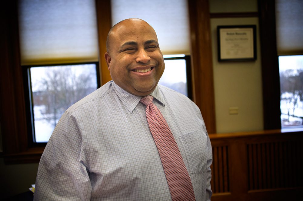 """""""This is not a pessimist's job,"""" says Lawrence Mayor Daniel Rivera, seen in his City Hall office. (Jesse Costa/WBUR)"""