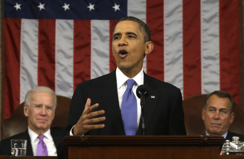 U.S. President Barack Obama delivers the State of the Union address before a joint session of Congress on Capitol Hill in Washington, Tuesday Feb. 12, 2013. (Charles Dharapak/AFP/Getty Images)