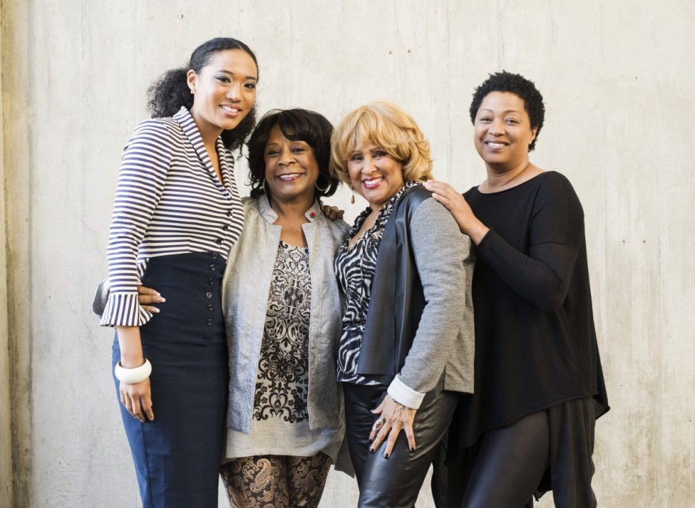 From left to right, singers Judith Hill, Merry Clayton, Darlene Love and Lisa Fischer pose for a portrait at the Rose Bowl. (Dan Steinberg/Invision/AP)