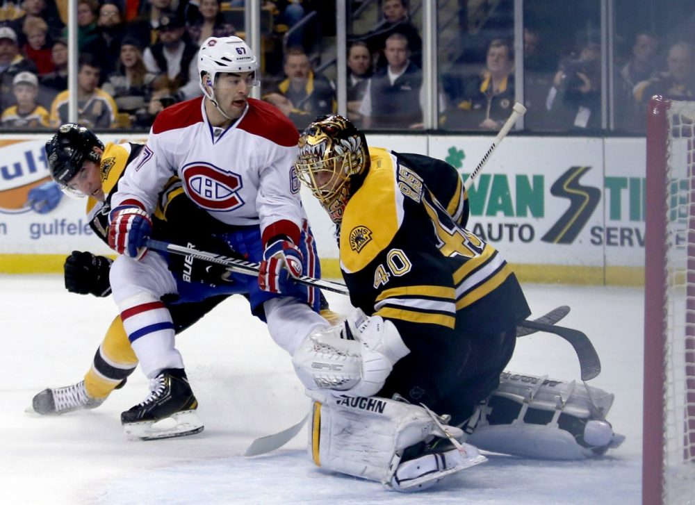 Canadiens Bruins Hockey Montreal Canadiens left wing Max Pacioretty (67) puts the puck into the net past Boston Bruins goalie Tuukka Rask (40).(AP/Mary Schwalm)