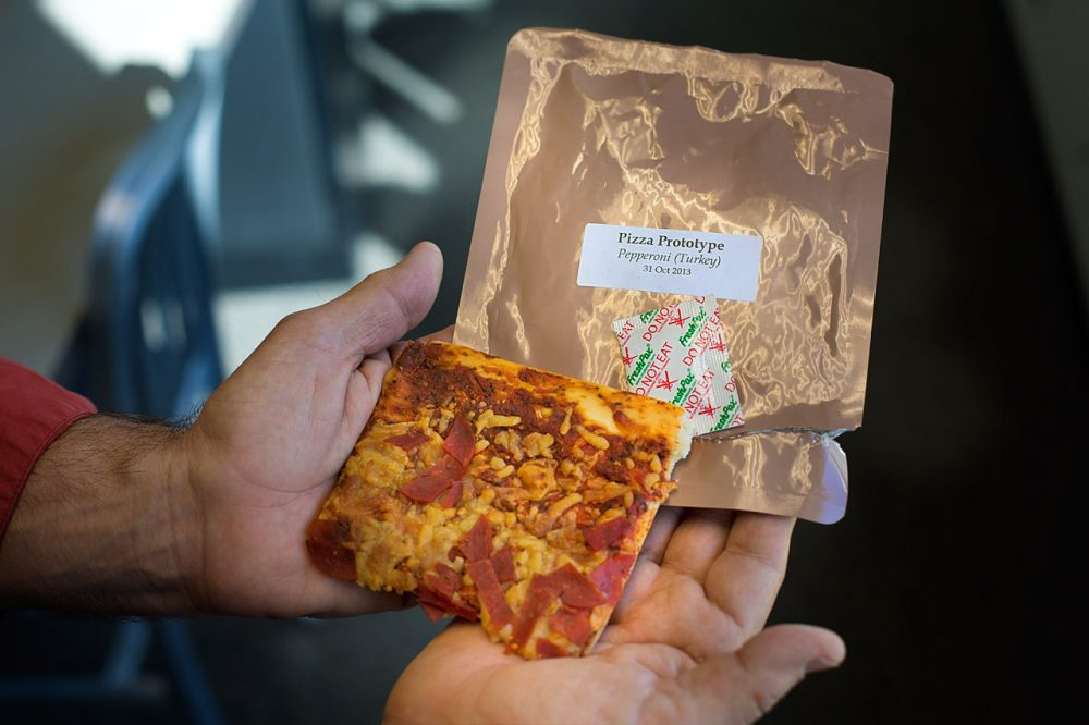 Military researchers in Natick are using cutting-edge pizza technology to create state-of-the-art slices that can last up to three years at 80 degrees. (Jesse Costa/WBUR)