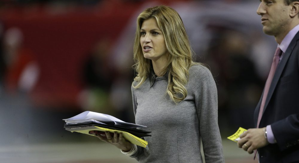 Sideline reporter Erin Andrews walks on the field before the first half of an NFL football game between the Atlanta Falcons and the Carolina Panthers, Sunday, Dec. 29, 2013, in Atlanta. (John Bazemore/AP)