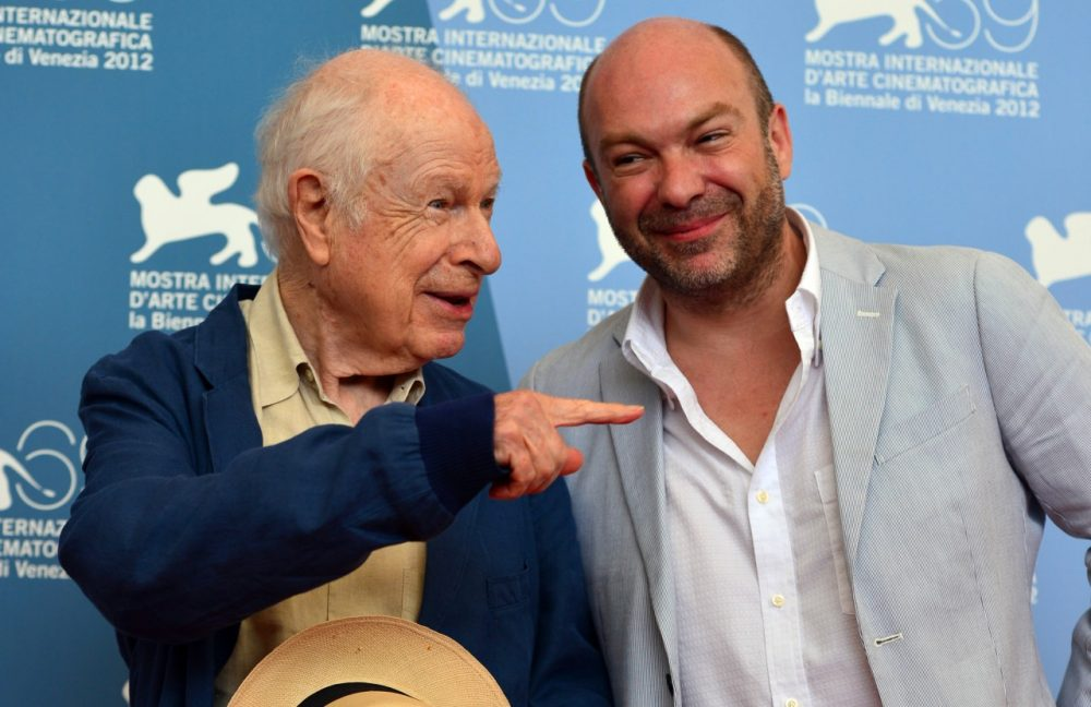 Theatre and film director Peter Brook, left, and his son, director Simon Brooks, pose during the 69th Venice Film Festival on September 5, 2012 at Venice Lido. (Gabriel Bouys/AFP/Getty Images)