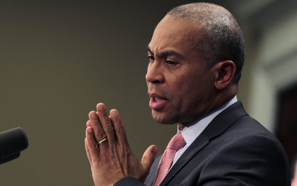 Mass. Gov. Deval Patrick gestures during a news conference at the Statehouse in Boston, Wednesday, Jan. 22, 2014. Gov. Patrick announced he is delivering his final state budget to Beacon Hill lawmakers, which proposes increasing spending by 4.9 percent over the current fiscal year. (AP)