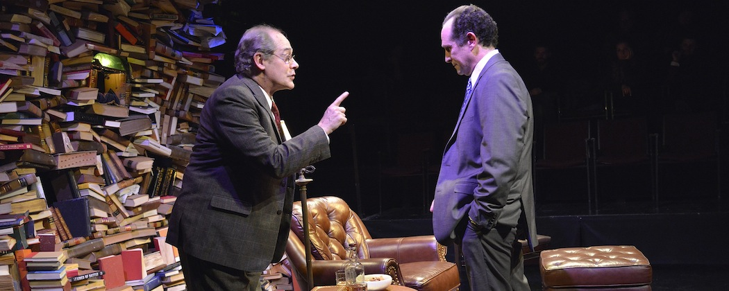 "Joel Colodner and Jeremiah Kissel as Bernard Madoff in ""Imagining Madoff"" at the New Repertory Theatre. (Andrew Brilliant/Brilliant Pictures)"
