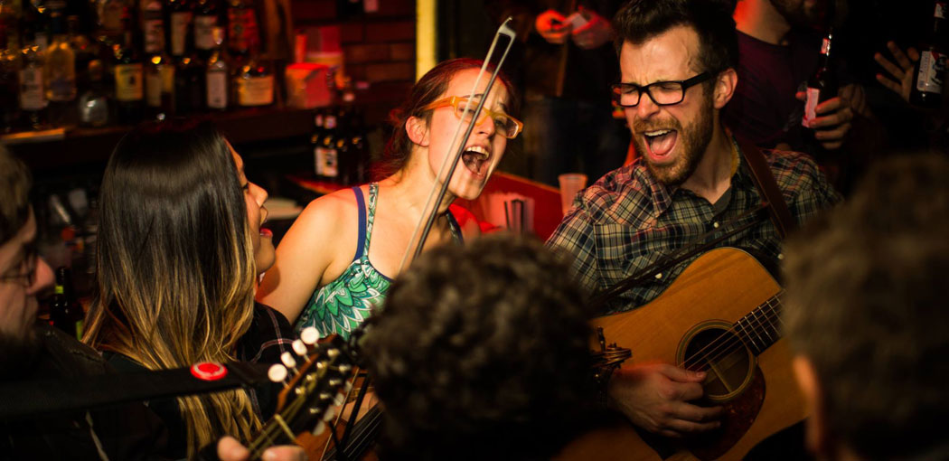 The Tuesday night bluegrass jam session at the Cantab Lounge in Cambridge. (Jason Jong)
