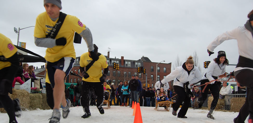 Human Dogsled Racing at the 2013 Lowell WinterFest. (Greg Cook)