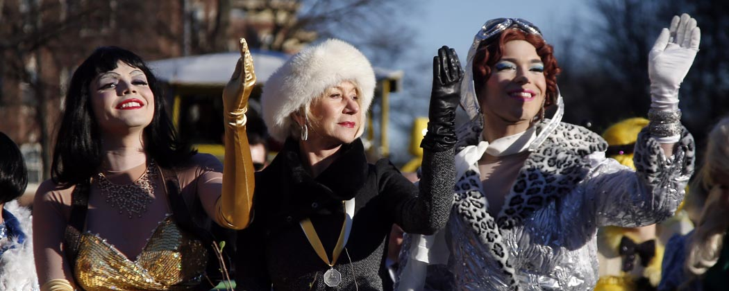 Actress Helen Mirren was honored as woman of the year by Harvard University's Hasty Pudding Theatricals in Cambridge Thursday. (AP)