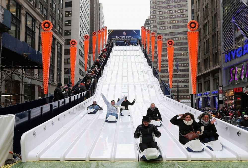 Toboggan run in the middle of Times Square? Why not? It's the Super Bowl!(Christian Petersen/Getty Images)
