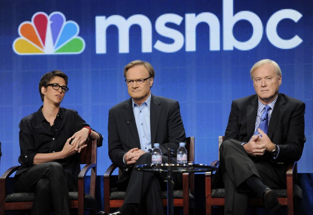 Tufts professor of political science Jeff Berry says hosts like MSNBC's Rachel Maddow (left), Lawrence O'Donnell (center) and Chris Matthews (right) appeal to liberal viewers by confirming their beliefs. (Chris Pizzello/AP)