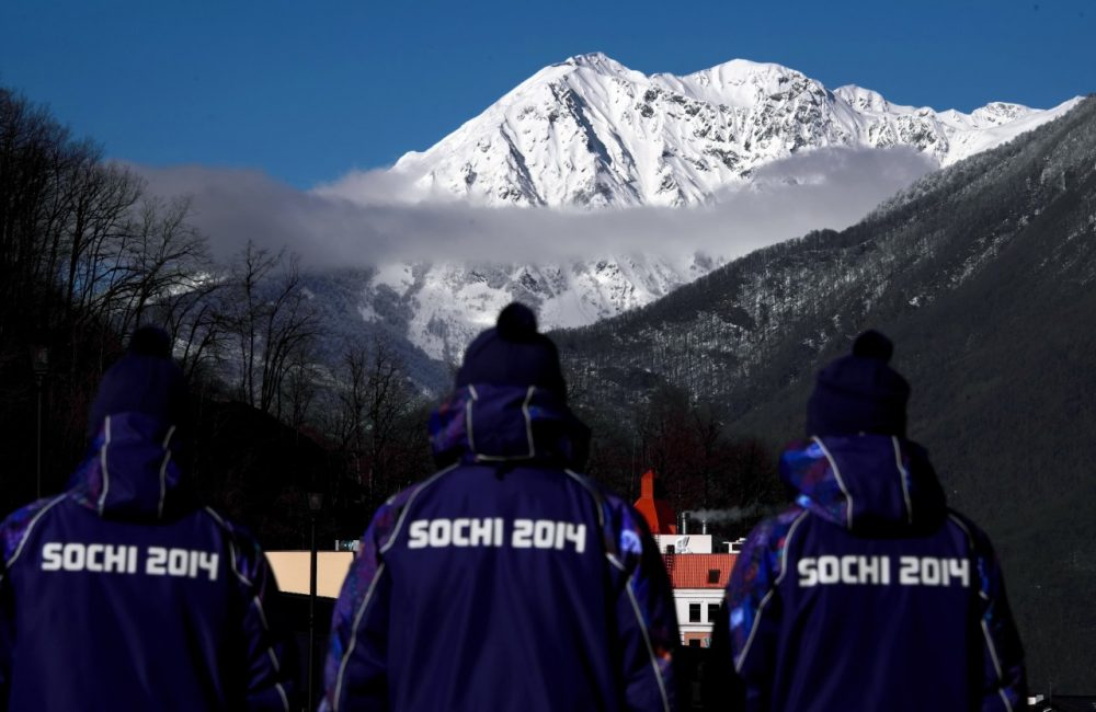 Plain-clothes policemen patrol the Rosa Khutor Alpine center in the mountain cluster on February 2, 2014 prior to the start of 2014 Sochi Winter Olympic Games. (Fabrice Coffrini/AFP/Getty Images)
