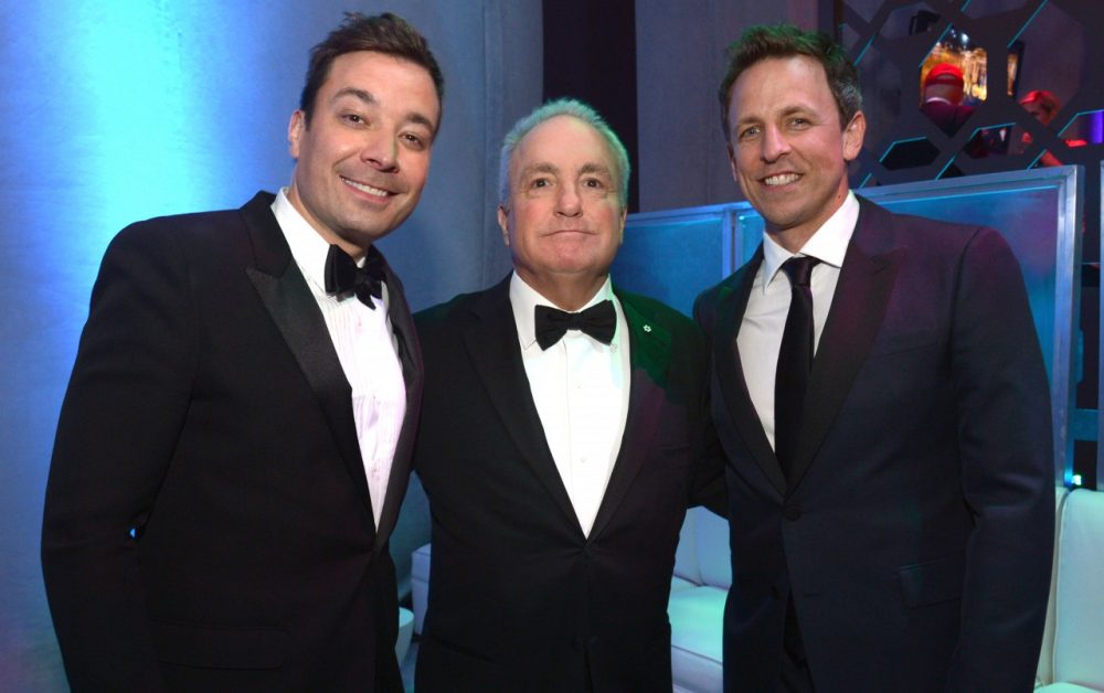 Jimmy Falon, Lorne Michaels, and Seth Meyers are pictured on January 12, 2014 in Beverly Hills, California. (Jason Kempin/Getty Images for NBCUniversal)