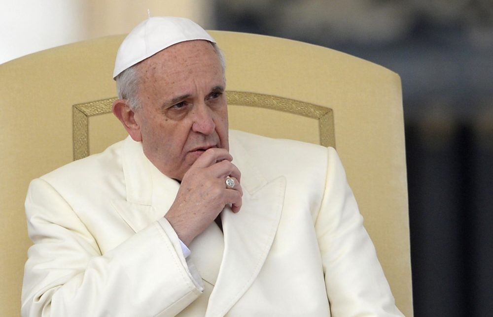 Pope Francis looks on during his general audience at St Peter's square on January 22, 2014 at the Vatican. (Andreas Solaro/AFP/Getty Images)