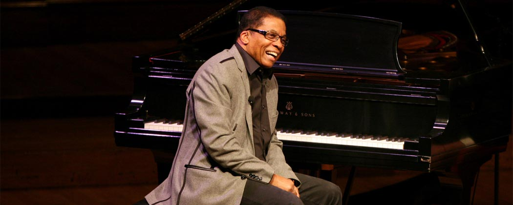 "Herbie Hancock at his first of six Harvard University lectures on ""The Ethics of Jazz."" (Tia Chapman/Harvard University)"