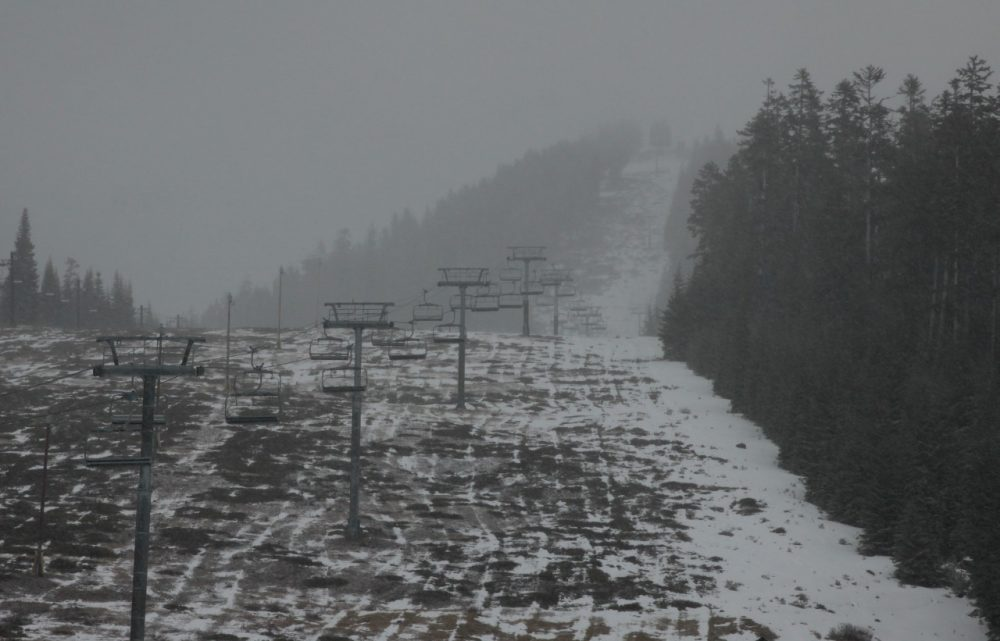 Many runs at the Willamette Pass Resort remain closed this week because of the lack of snow. (David Nogueras/OPB)