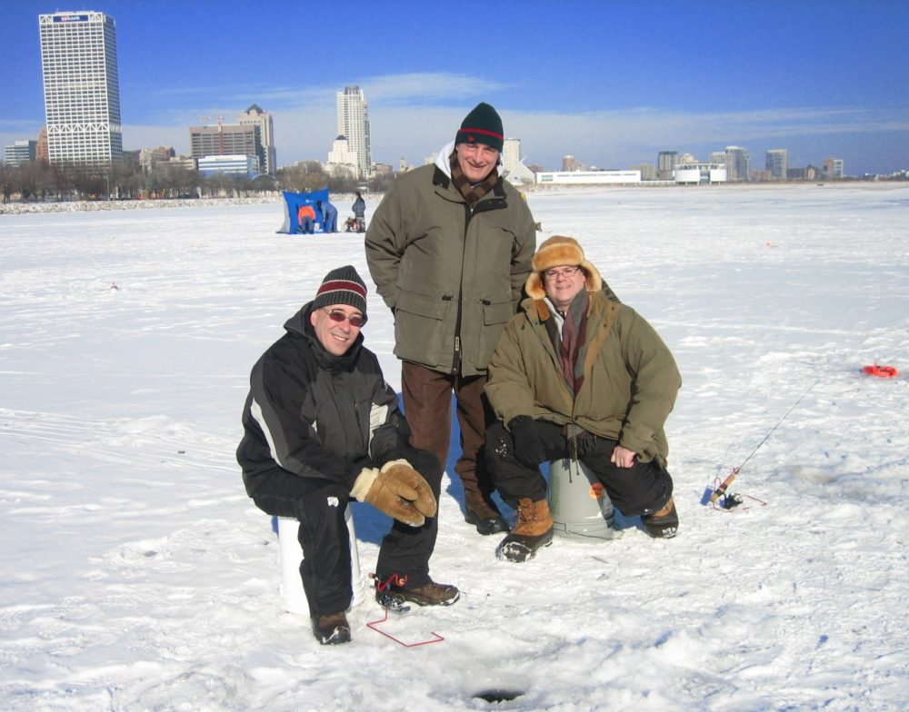 The trip to Milwaukee's new bay is a quick one for three north shore ice fishermen. (Marge Pitrof/WUWM)