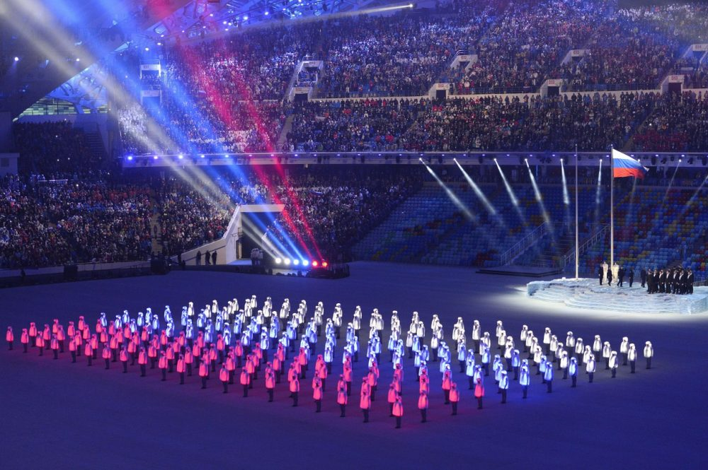 Performers light up as the Russian flag during the Opening Ceremony of the Sochi Winter Olympics at the Fisht Olympic Stadium on February 7, 2014 in Sochi. (Jonathan Nackstrand/AFP/Getty Images)
