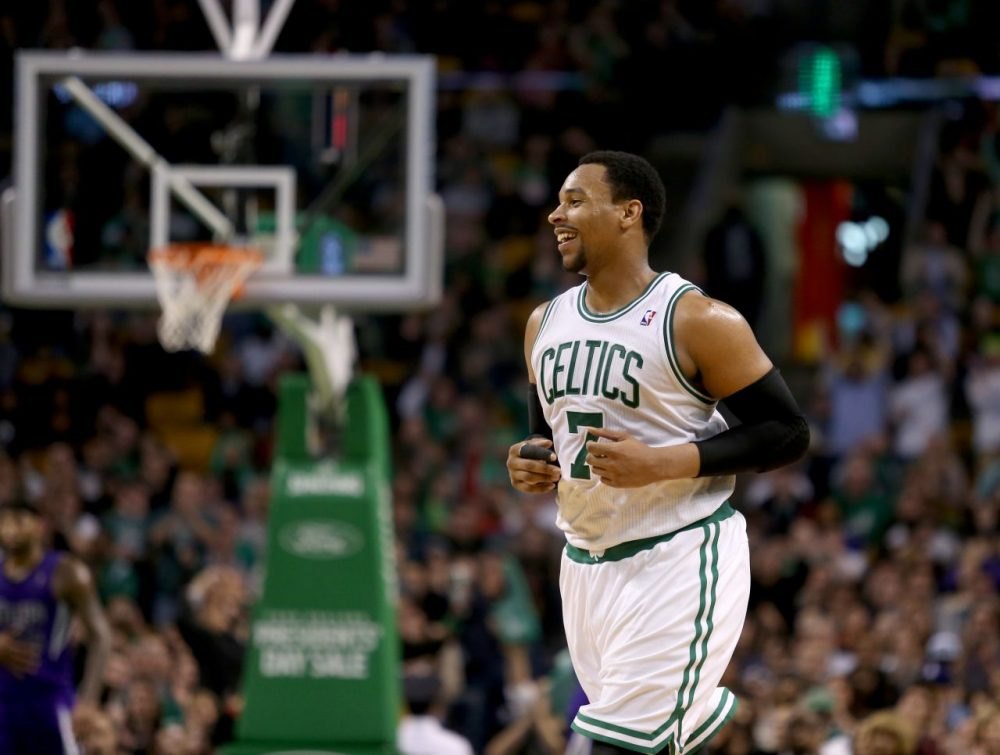 Boston Celtics center Jared Sullinger reacts after making a basket during the second half of an NBA basketball game against the Sacramento Kings. (Mary Schwalm/AP)