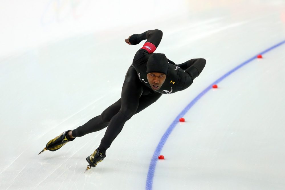 Shani Davis of the United States competes during the Men's 1000m Speed Skating event during day 5 of the Sochi 2014 Winter Olympics at at Adler Arena Skating Center on February 12, 2014 in Sochi, Russia. (Quinn Rooney/Getty Images)