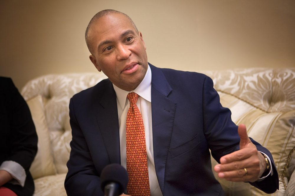 Deval Patrick speaks during a WBUR interview at the State House in 2014. (Jesse Costa/WBUR)