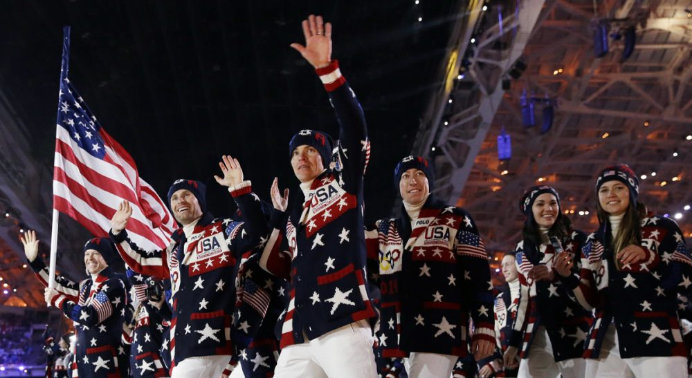 The United States team arrives during the opening ceremony of the 2014 Winter Olympics in Sochi, Russia, Friday, Feb. 7, 2014. (Patrick Semansky/AP)