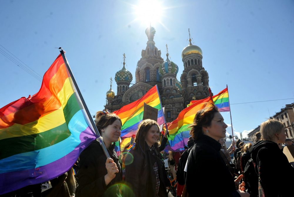 One of the many protests of Russia's anti-gay laws. (OLGA MALTSEVA/AFP/Getty Images)