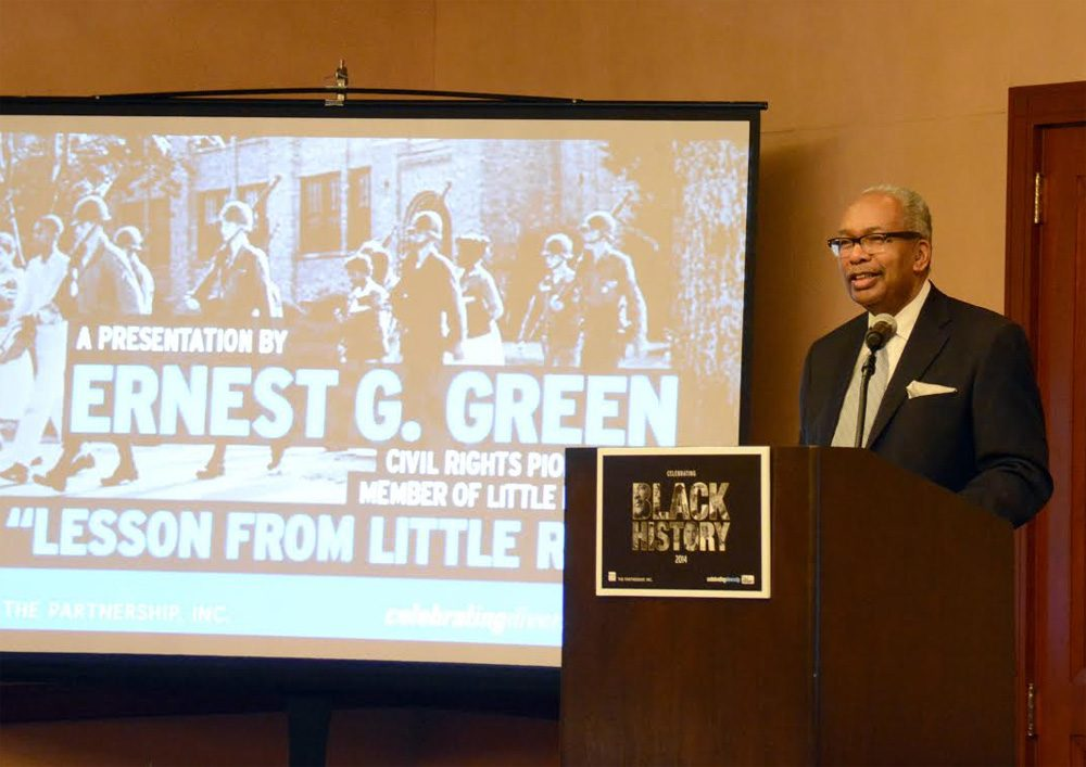 Ernest Green, one of the Little Rock Nine, gives a speech Monday at the Logan Airport Hilton Hotel. (Courtesy Massport)