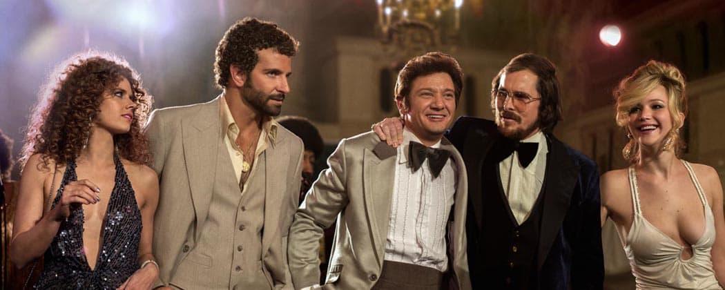 "From left, Amy Adams, Bradley Cooper, Jeremy Renner, Christian Bale and Jennifer Lawrence in a scene from ""American Hustle."" (AP/Sony)"