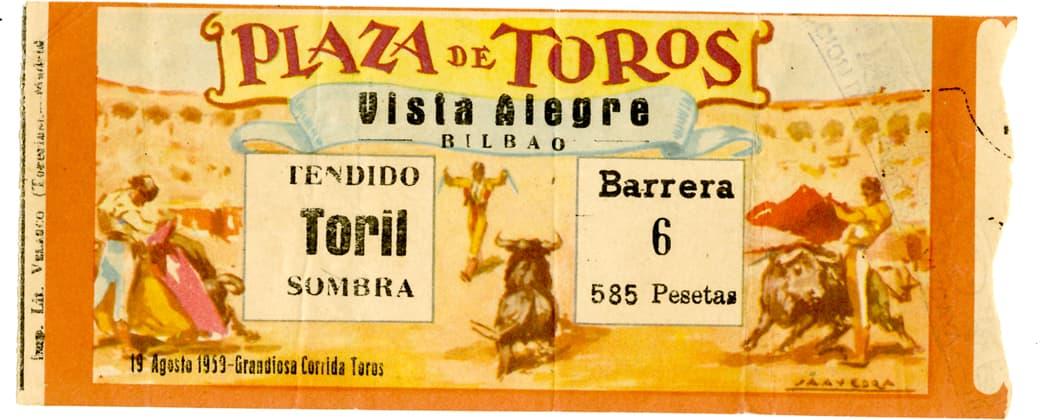 A bullfighting ticket stub, attended by Ernest Hemingway. (Ernest Hemingway Papers Collection, Museum Ernest Hemingway, Finca Vigia, San Francisco de Paula, Cuba)