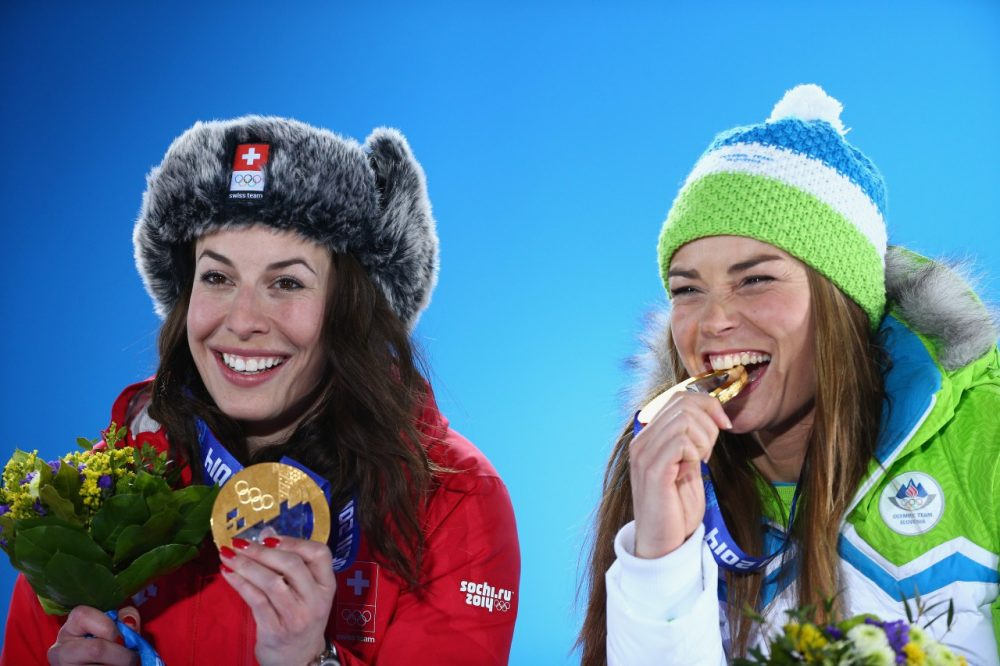 Dominique Gisin (L) and Tina Maze (R) share the glory of winning Olympic gold. (Paul Gilham/Getty Images)