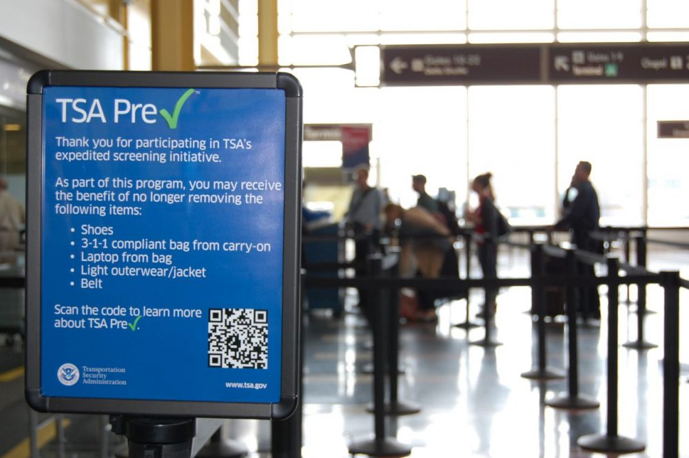 This undated image released by the Transportation Security Administration shows a sign promoting the TSA PreCheck program at at Reagan National Airport in Washington. (TSA/AP)