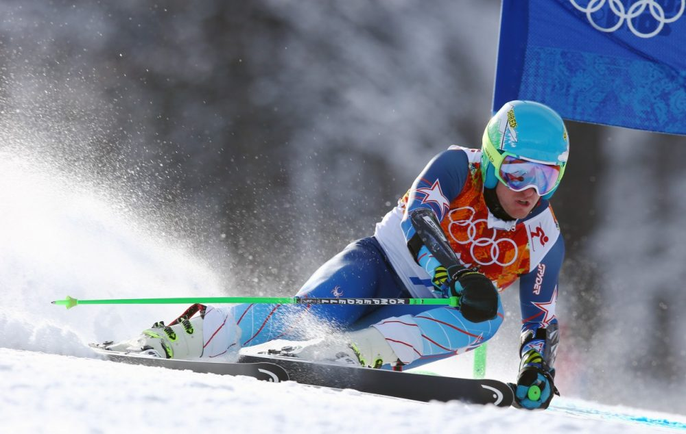 Gold medal winner Ted Ligety of the United States skis in the second run of the men's giant slalom the Sochi 2014 Winter Olympics, Wednesday, Feb. 19, 2014, in Krasnaya Polyana, Russia.(AP)