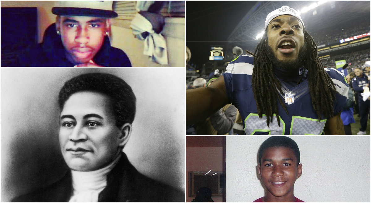 "Kellie Carter Jackson: Perceptions of black men as ""threatening"" seem to be hardwired into the white American psyche. Clockwise, from top left: Jordan Davis, Richard Sherman, Trayvon Martin and Crispus Attucks. (flickr, AP, Wikimedia Commons)"