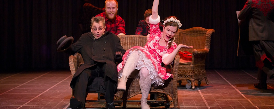 """Chris Giarmo gives a push to Mikhail Baryshnikov and Tymberly Canale in Anton Chekhov's """"Man in a Case"""" at ArtsEmerson. (T. Charles Erickson)"""